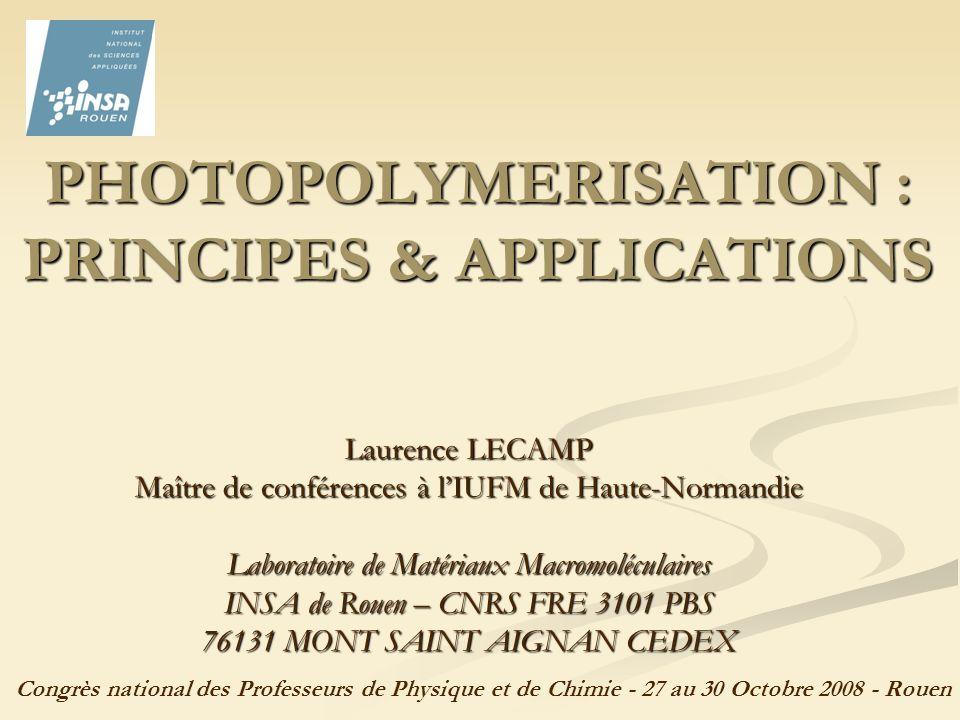 42 Contrôle de lépaisseur polymérisée (de qqs µm à qqs mm) : en jouant sur la longueur donde et/ou lintensité du rayonnement lumineux, et/ou sur la concentration en photoamorceur, on peut régler la profondeur de pénétration du rayonnement Contrôle de lépaisseur polymérisée (de qqs µm à qqs mm) : en jouant sur la longueur donde et/ou lintensité du rayonnement lumineux, et/ou sur la concentration en photoamorceur, on peut régler la profondeur de pénétration du rayonnement Loi de Beer-Lambert : Réduction des émissions de composés organiques volatils (COV) grâce à lemploi de systèmes sans solvant ou à base aqueuse et à la possibilité de travailler à température ambiante Réduction des émissions de composés organiques volatils (COV) grâce à lemploi de systèmes sans solvant ou à base aqueuse et à la possibilité de travailler à température ambiante III.1.