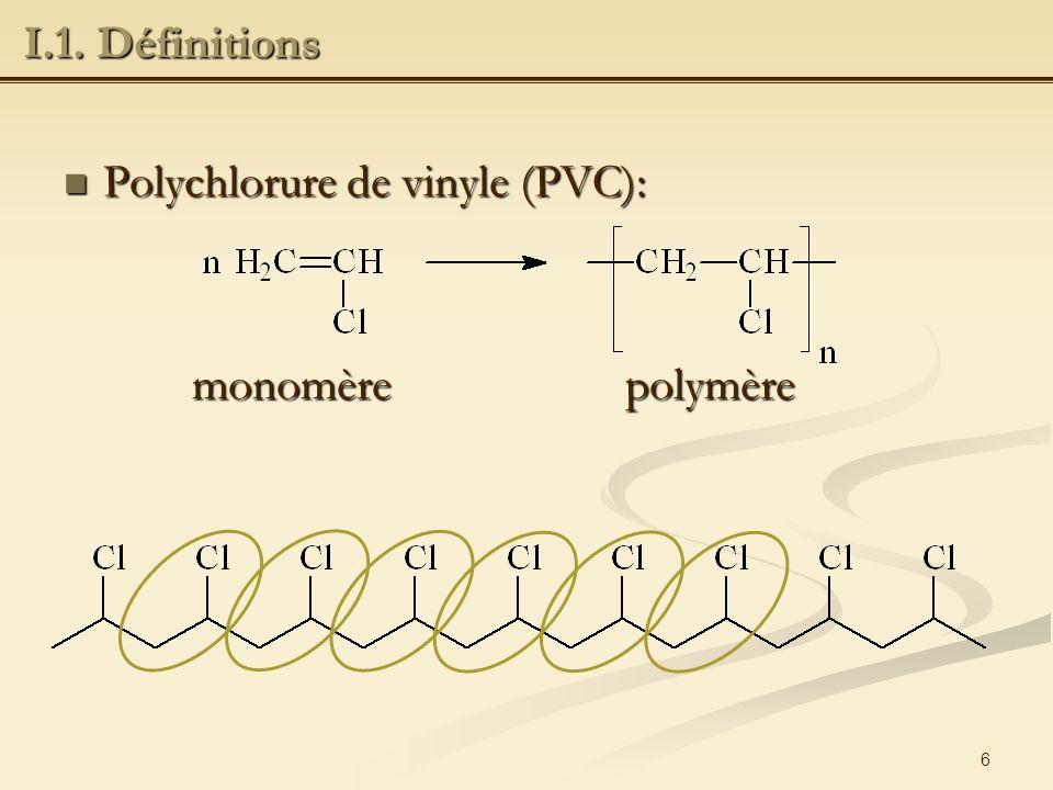 7 Polycondensation-polyaddition : Polycondensation-polyaddition : Polymérisation en chaîne : Polymérisation en chaîne : I.2.