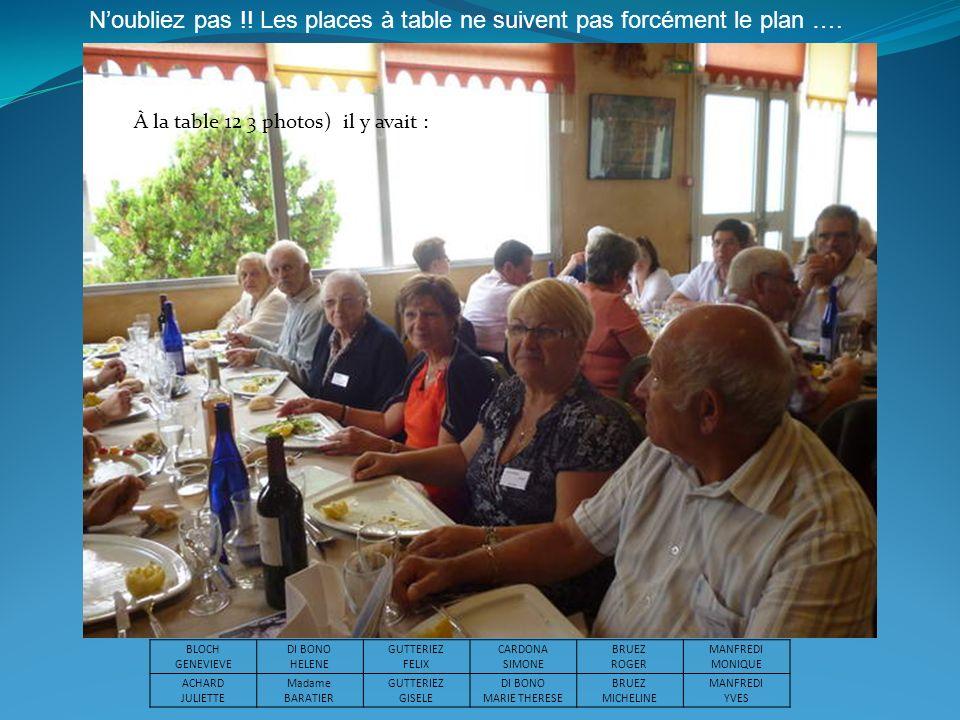 À la table 12 3 photos) il y avait : Noubliez pas !! Les places à table ne suivent pas forcément le plan …. BLOCH GENEVIEVE DI BONO HELENE GUTTERIEZ F