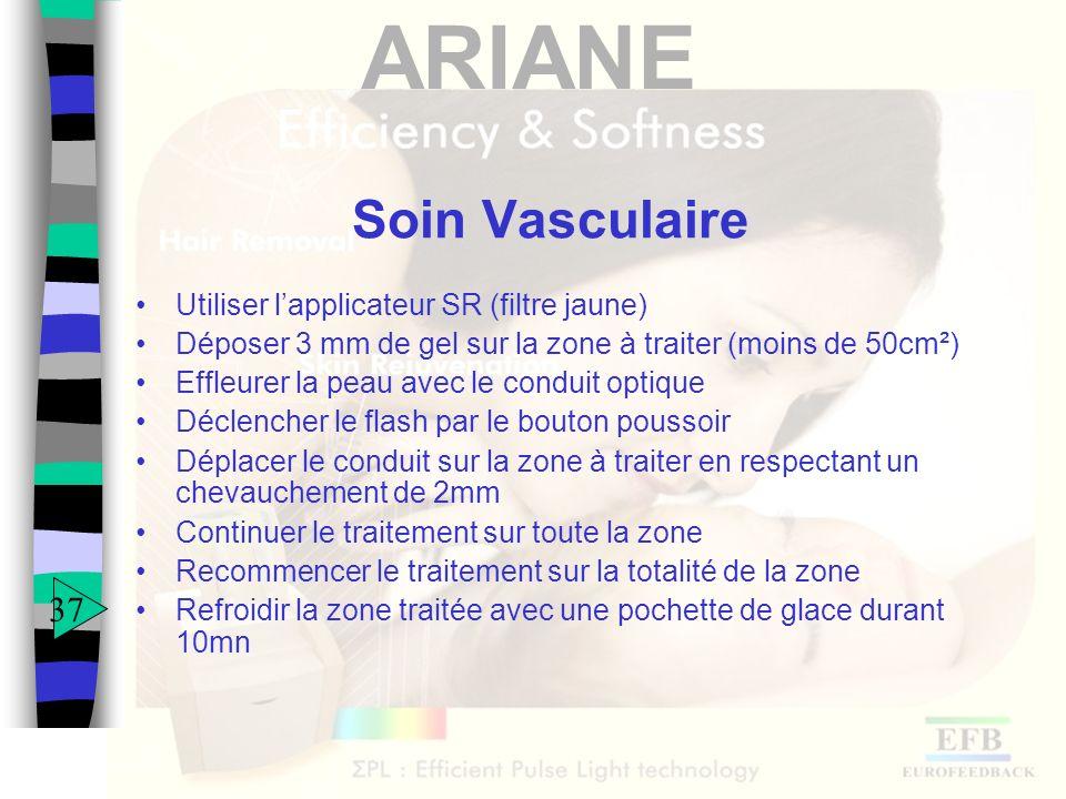 ARIANE Soin Vasculaire Utiliser lapplicateur SR (filtre jaune) Déposer 3 mm de gel sur la zone à traiter (moins de 50cm²) Effleurer la peau avec le co