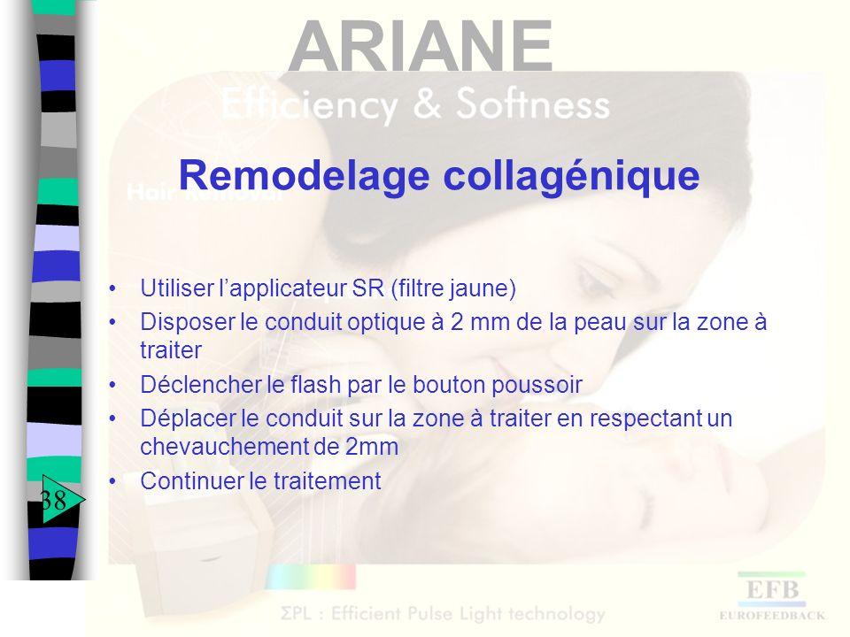 ARIANE Remodelage collagénique Utiliser lapplicateur SR (filtre jaune) Disposer le conduit optique à 2 mm de la peau sur la zone à traiter Déclencher