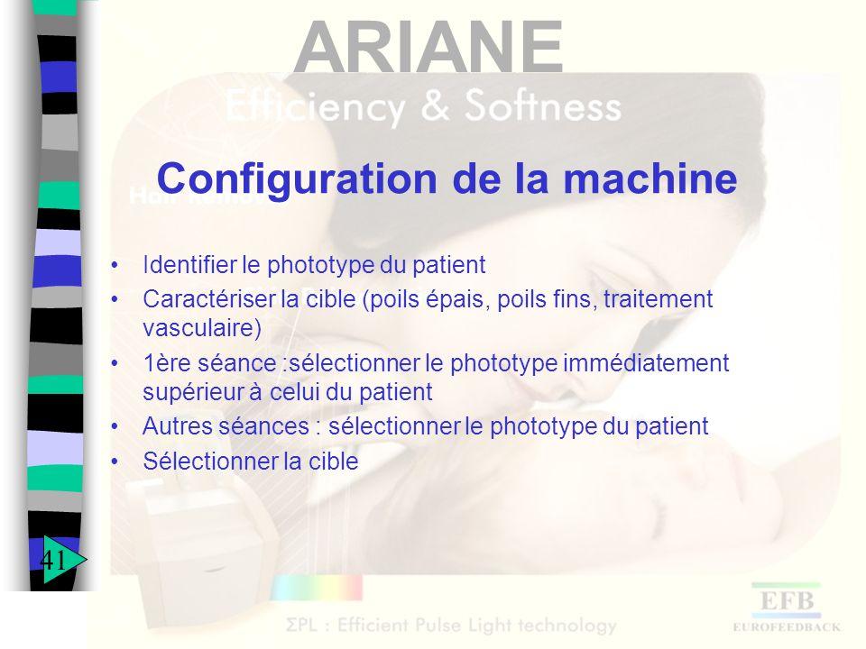 ARIANE Configuration de la machine Identifier le phototype du patient Caractériser la cible (poils épais, poils fins, traitement vasculaire) 1ère séan