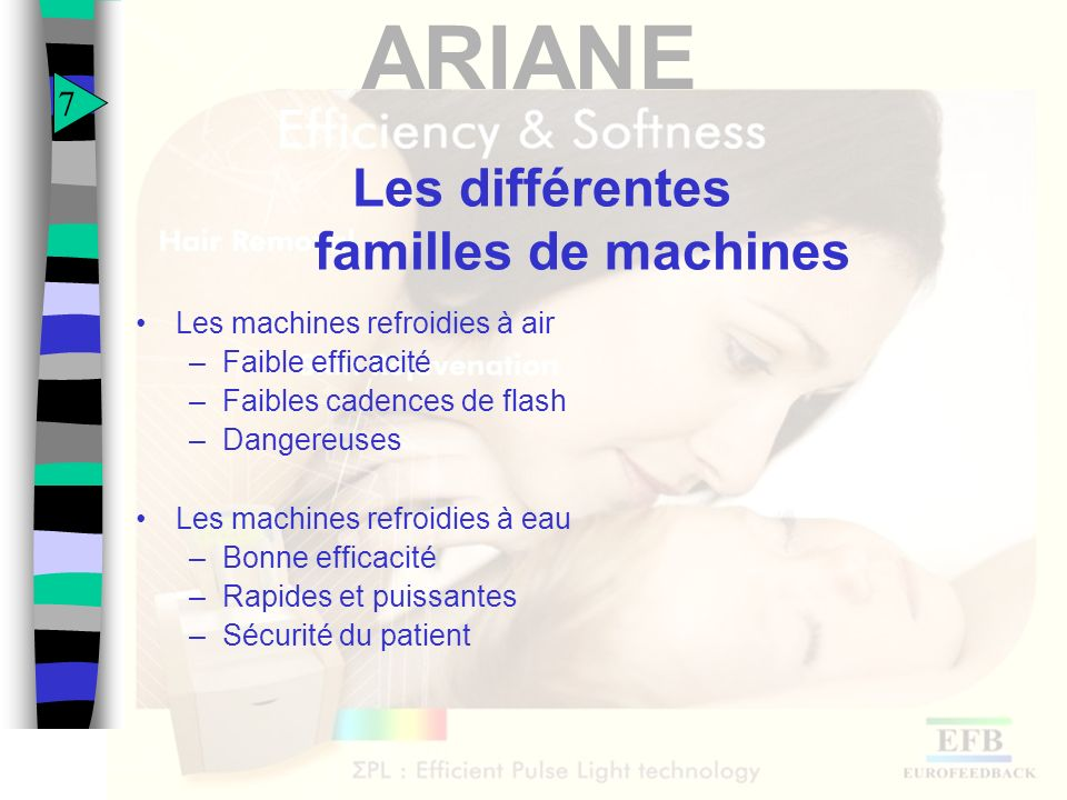 ARIANE ARIANE face à ses concurrentes directes Facilité dutilisation Forte puissance : COVER RATE important (3.75 cm²/s) Grande surface de traitement (7.5 cm²) Efficacité reconnue en SR et HR (avec compensation dénergie) Durée de vie des applicateurs garantie par contrat (30 000 flashs) 8