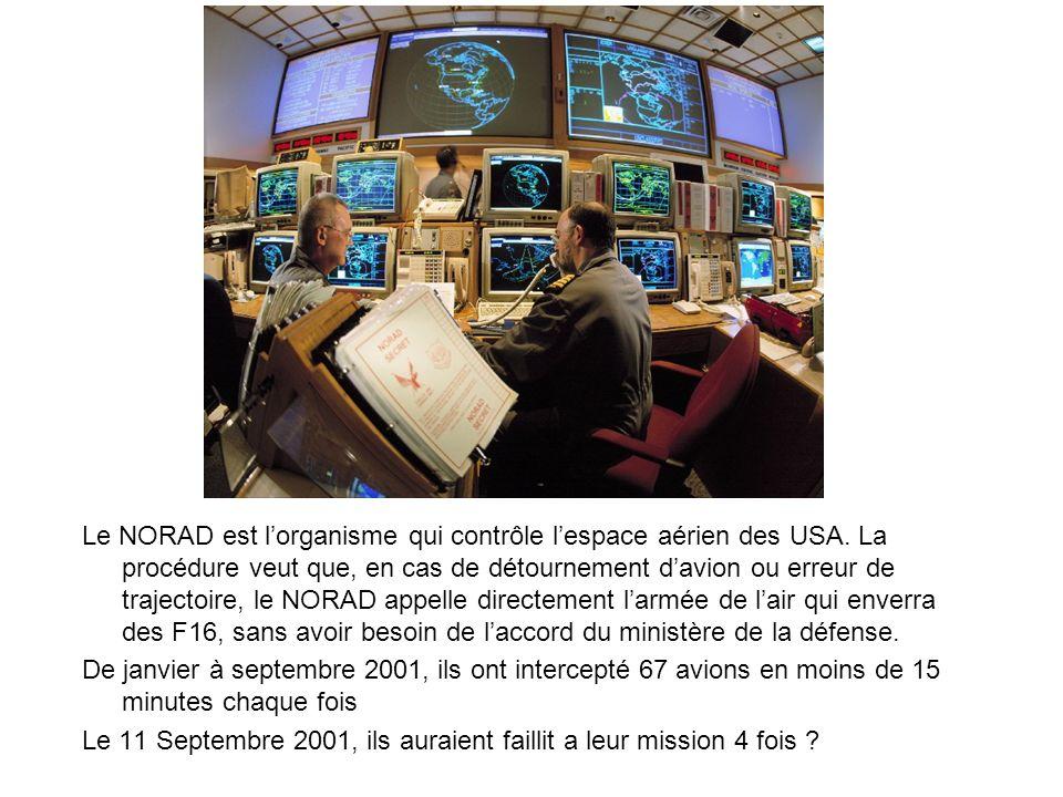 Le NORAD est lorganisme qui contrôle lespace aérien des USA. La procédure veut que, en cas de détournement davion ou erreur de trajectoire, le NORAD a