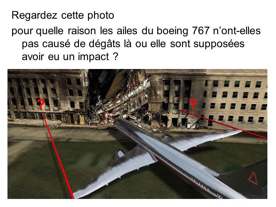 Regardez cette photo pour quelle raison les ailes du boeing 767 nont-elles pas causé de dégâts là ou elle sont supposées avoir eu un impact ?