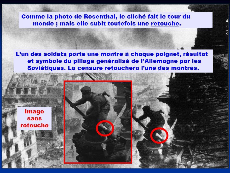 Comme la photo de Rosenthal, le cliché fait le tour du monde ; mais elle subit toutefois une retouche. Lun des soldats porte une montre à chaque poign