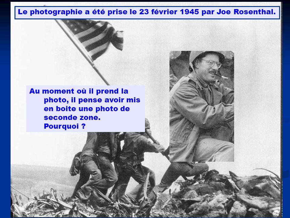 Le photographie a été prise le 23 février 1945 par Joe Rosenthal. Au moment où il prend la photo, il pense avoir mis en boite une photo de seconde zon