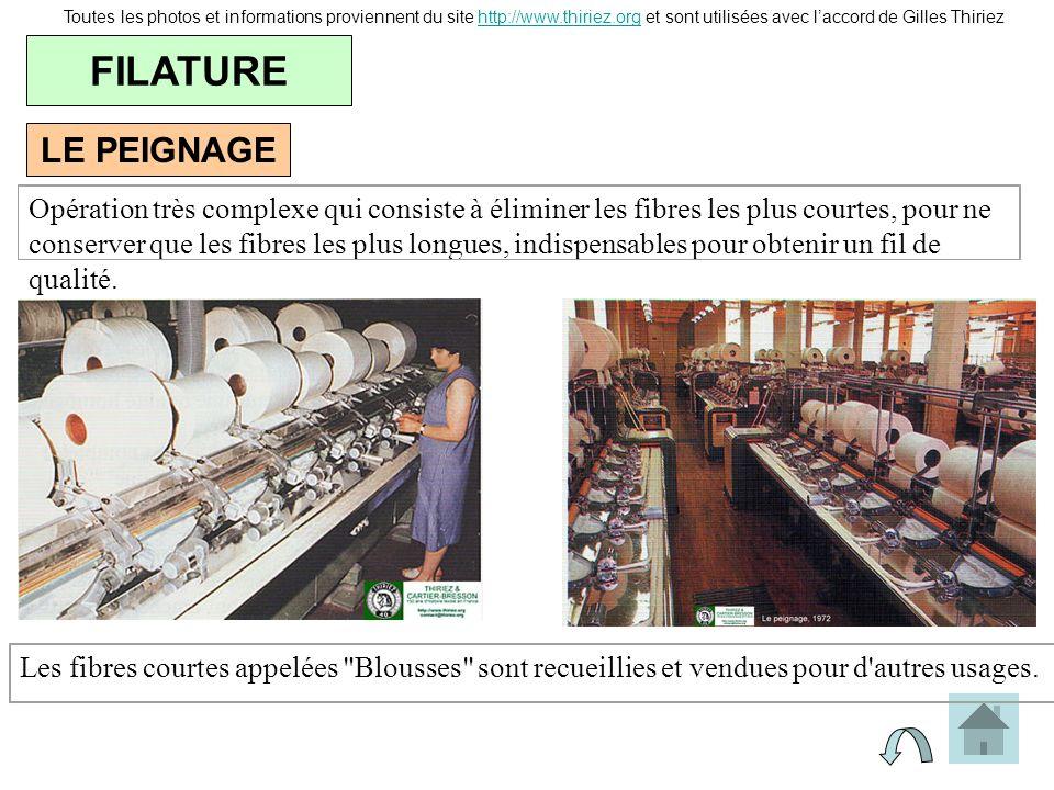LE PEIGNAGE FILATURE Toutes les photos et informations proviennent du site http://www.thiriez.org et sont utilisées avec laccord de Gilles Thiriezhttp