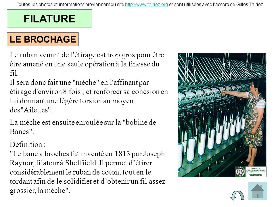 LE BROCHAGE FILATURE Toutes les photos et informations proviennent du site http://www.thiriez.org et sont utilisées avec laccord de Gilles Thiriezhttp