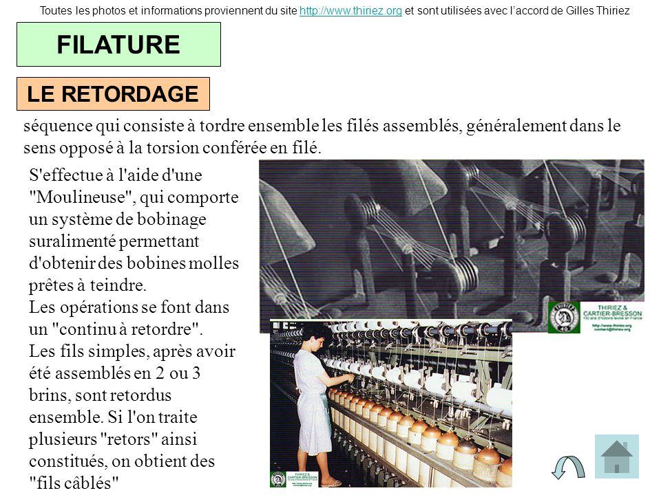 LE RETORDAGE FILATURE Toutes les photos et informations proviennent du site http://www.thiriez.org et sont utilisées avec laccord de Gilles Thiriezhtt