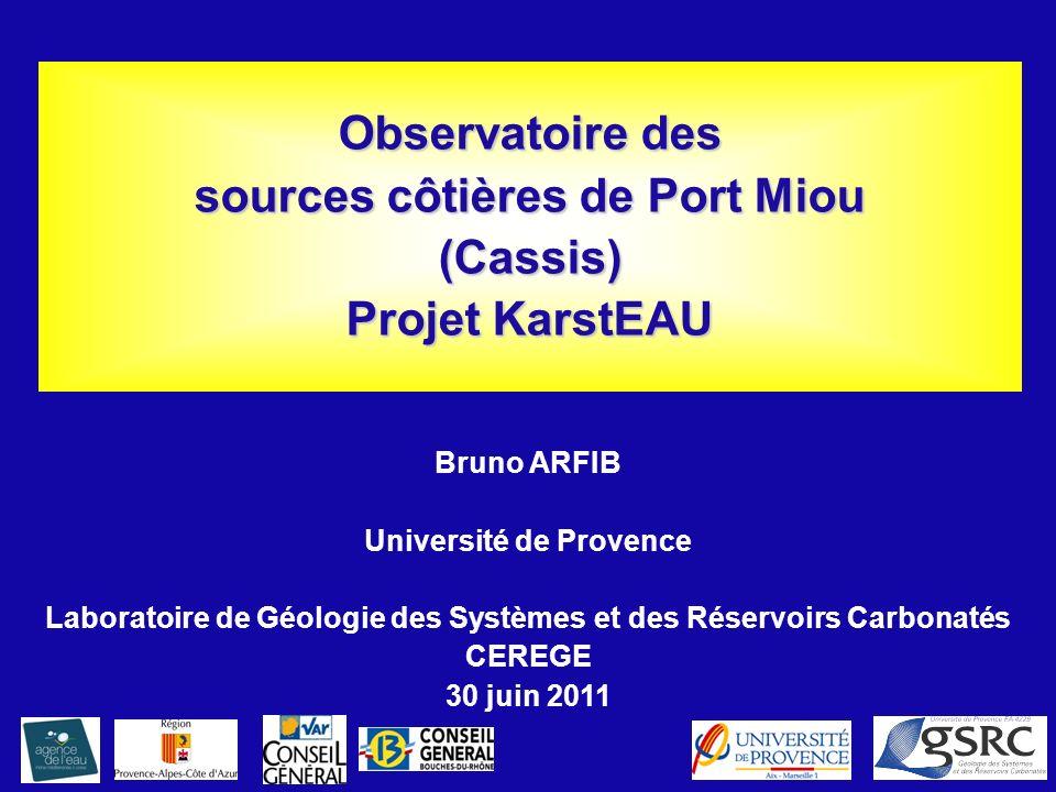 Observatoire des sources côtières de Port Miou (Cassis) Projet KarstEAU Bruno ARFIB Université de Provence Laboratoire de Géologie des Systèmes et des