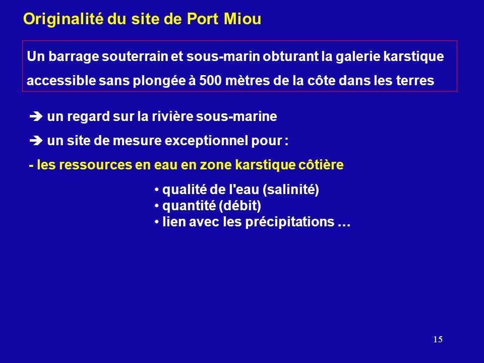 15 Originalité du site de Port Miou Un barrage souterrain et sous-marin obturant la galerie karstique accessible sans plongée à 500 mètres de la côte
