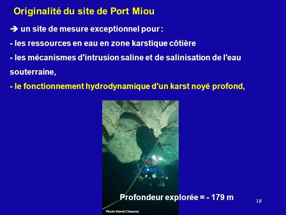18 Originalité du site de Port Miou un site de mesure exceptionnel pour : - les ressources en eau en zone karstique côtière - les mécanismes d'intrusi