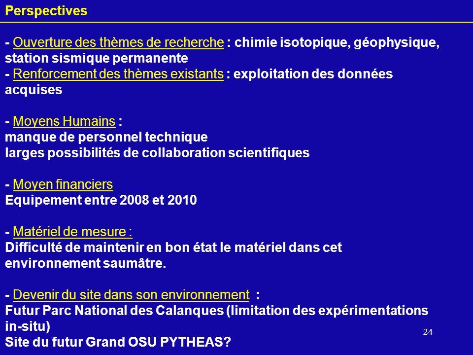 24 Perspectives - Ouverture des thèmes de recherche : chimie isotopique, géophysique, station sismique permanente - Renforcement des thèmes existants