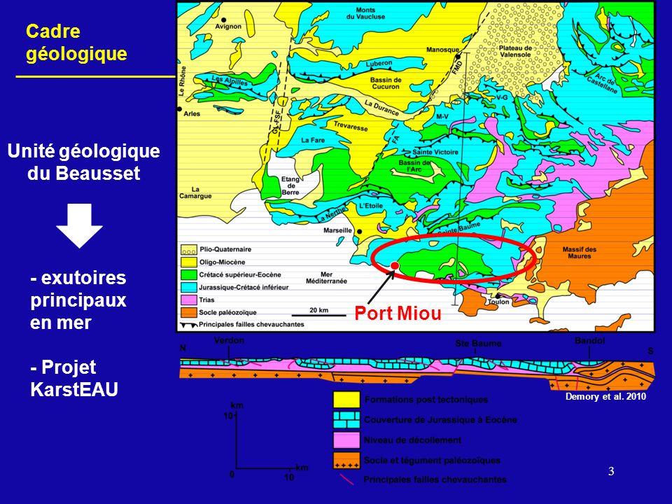 3 Port Miou Unité géologique du Beausset Cadre géologique - exutoires principaux en mer - Projet KarstEAU Demory et al. 2010