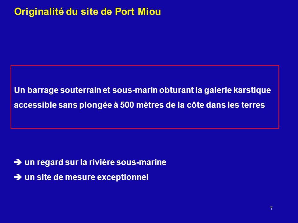 7 Originalité du site de Port Miou Un barrage souterrain et sous-marin obturant la galerie karstique accessible sans plongée à 500 mètres de la côte d
