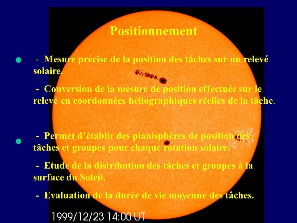 Positionnement - Mesure précise de la position des tâches sur un relevé solaire. - Conversion de la mesure de position effectuée sur le relevé en coor