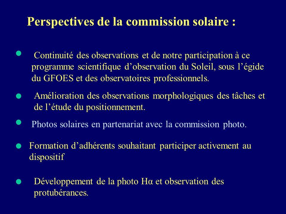 Perspectives de la commission solaire : Continuité des observations et de notre participation à ce programme scientifique dobservation du Soleil, sous