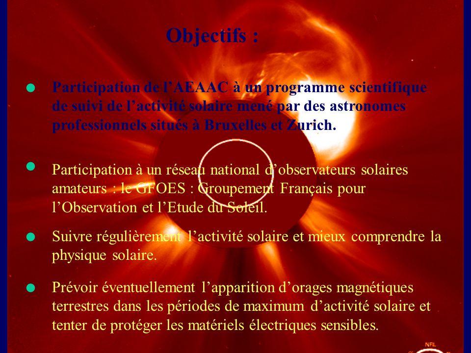 Objectifs : Participation de lAEAAC à un programme scientifique de suivi de lactivité solaire mené par des astronomes professionnels situés à Bruxelle