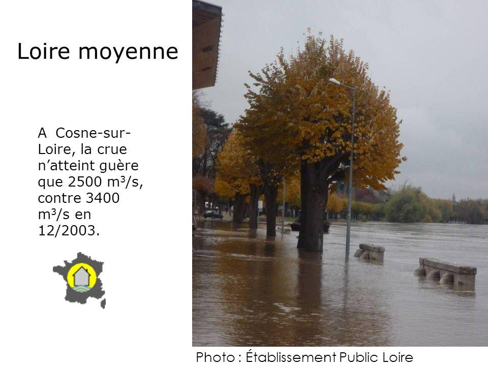 A Cosne-sur- Loire, la crue natteint guère que 2500 m 3 /s, contre 3400 m 3 /s en 12/2003. Loire moyenne