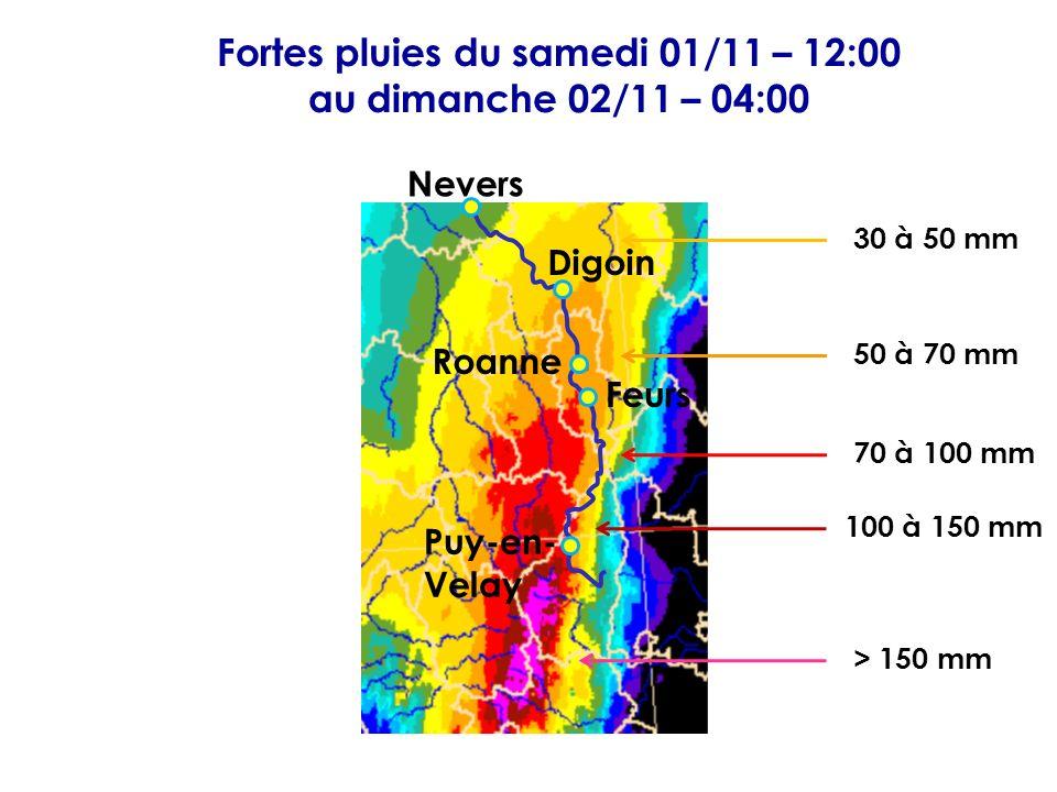 Nevers Digoin Roanne Feurs Puy-en- Velay 30 à 50 mm 50 à 70 mm 70 à 100 mm 100 à 150 mm > 150 mm
