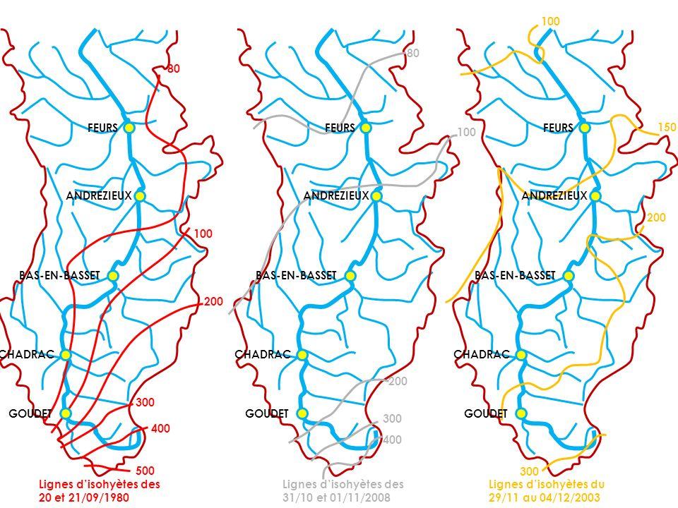 Lignes disohyètes des 20 et 21/09/1980 400 300 200 100 80 Lignes disohyètes des 31/10 et 01/11/2008 Lignes disohyètes du 29/11 au 04/12/2003 GOUDET CH
