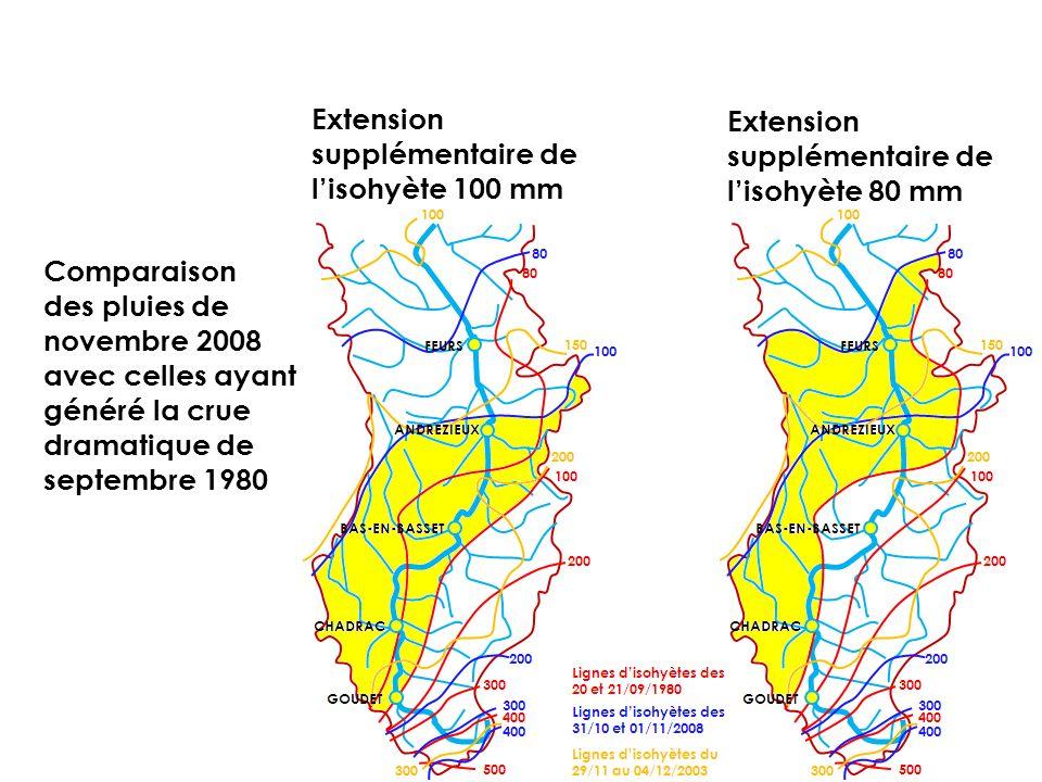 Comparaison des pluies de novembre 2008 avec celles ayant généré la crue dramatique de septembre 1980 Extension supplémentaire de lisohyète 100 mm Ext