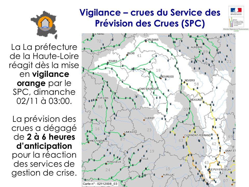 La La préfecture de la Haute-Loire réagit dès la mise en vigilance orange par le SPC, dimanche 02/11 à 03:00. La prévision des crues a dégagé de 2 à 6