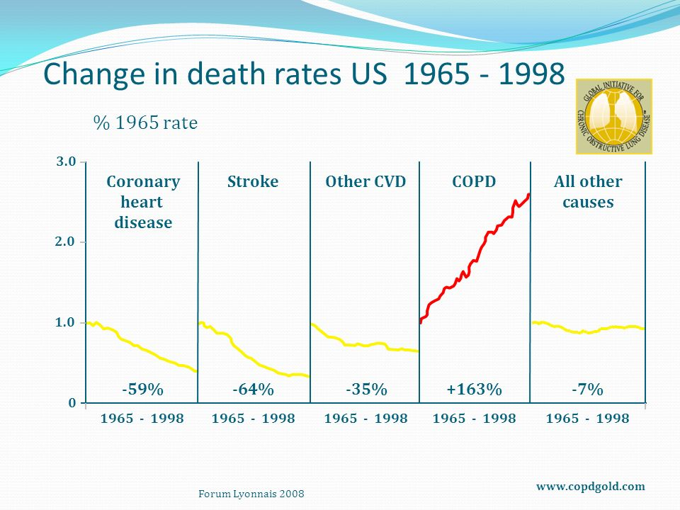 1.0 2.0 1965 - 1998 3.0 0 Change in death rates US 1965 - 1998 % 1965 rate 1965 - 1998 Coronary heart disease StrokeOther CVDCOPDAll other causes -59%