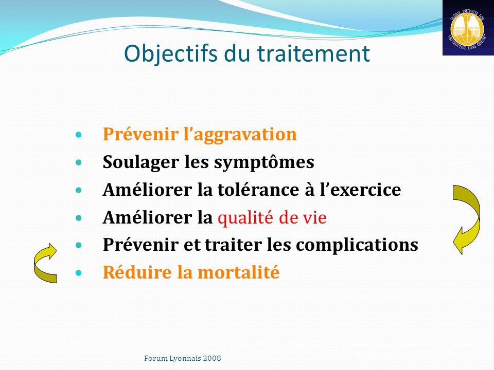 Objectifs du traitement Prévenir laggravation Soulager les symptômes Améliorer la tolérance à lexercice Améliorer la qualité de vie Prévenir et traite