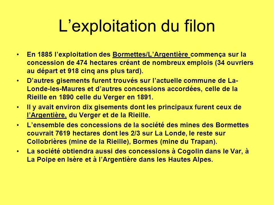 Lexploitation du filon En 1885 lexploitation des Bormettes/LArgentière commença sur la concession de 474 hectares créant de nombreux emplois (34 ouvriers au départ et 918 cinq ans plus tard).