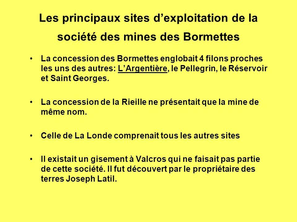 Les principaux sites dexploitation de la société des mines des Bormettes La concession des Bormettes englobait 4 filons proches les uns des autres: LArgentière, le Pellegrin, le Réservoir et Saint Georges.