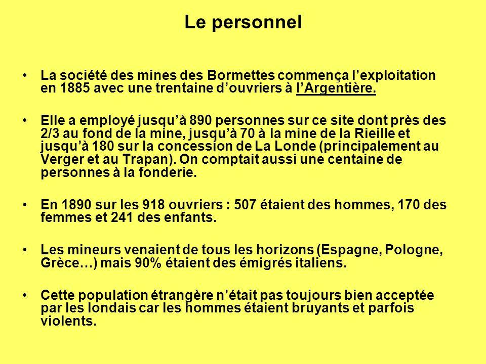Le personnel La société des mines des Bormettes commença lexploitation en 1885 avec une trentaine douvriers à lArgentière.