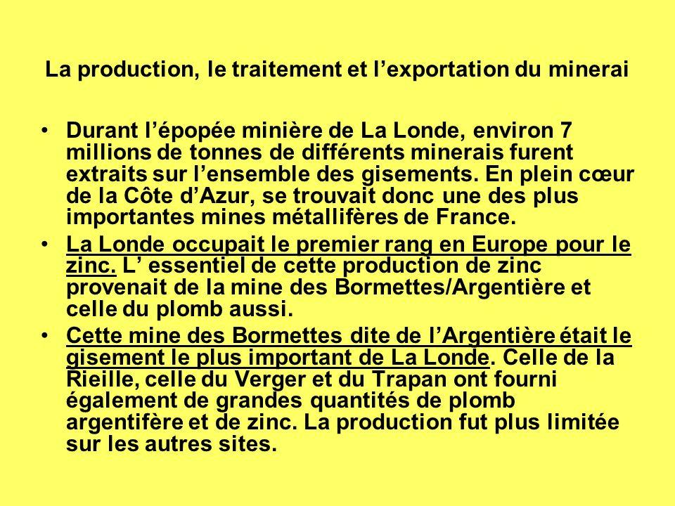 La production, le traitement et lexportation du minerai Durant lépopée minière de La Londe, environ 7 millions de tonnes de différents minerais furent extraits sur lensemble des gisements.