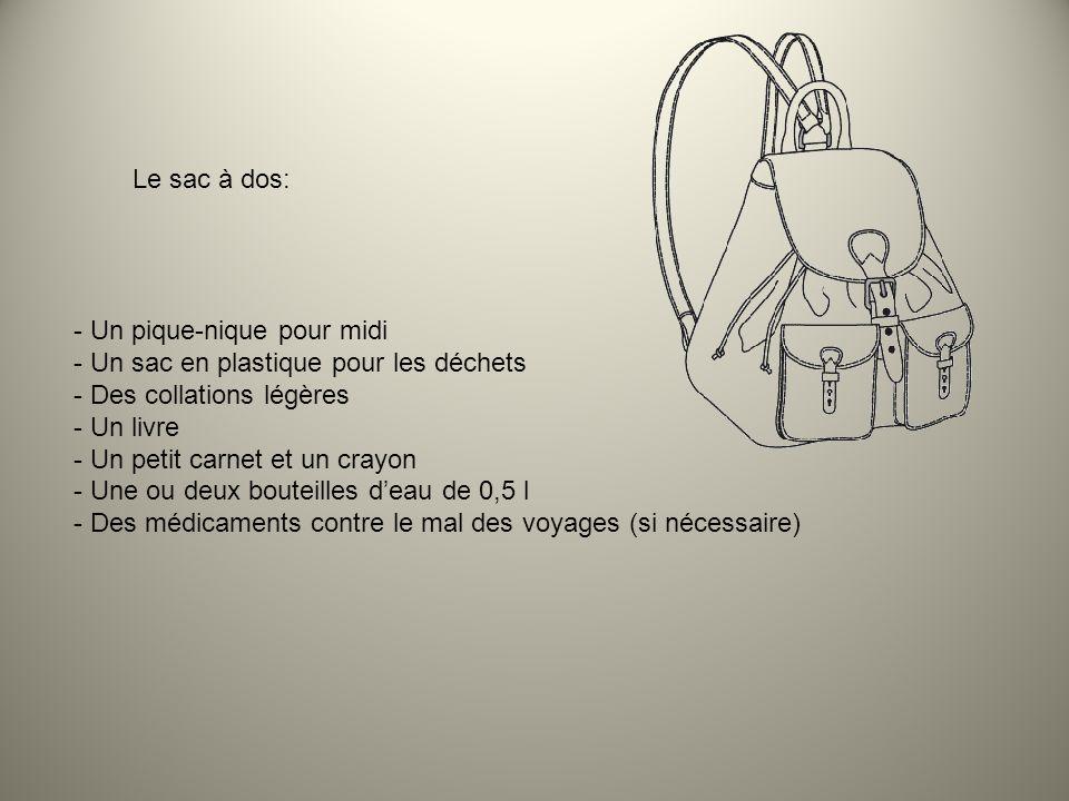 Le sac à dos: - Un pique-nique pour midi - Un sac en plastique pour les déchets - Des collations légères - Un livre - Un petit carnet et un crayon - U