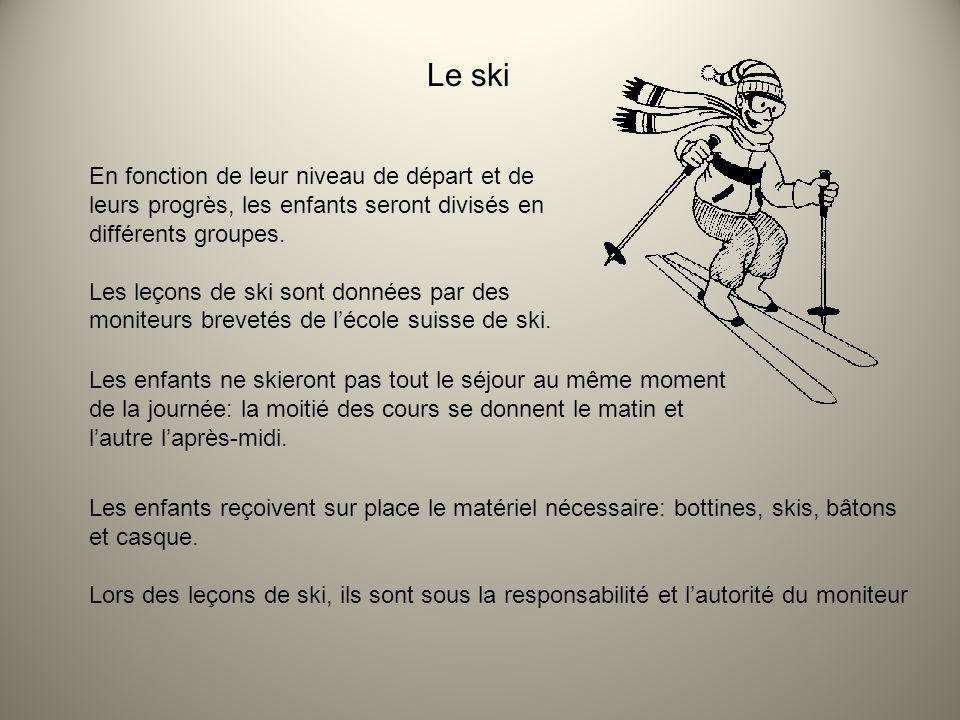 Le ski En fonction de leur niveau de départ et de leurs progrès, les enfants seront divisés en différents groupes. Les leçons de ski sont données par