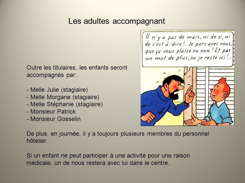 Les adultes accompagnant Outre les titulaires, les enfants seront accompagnés par: - Melle Julie (stagiaire) - Melle Morgane (stagiaire) - Melle Stéph