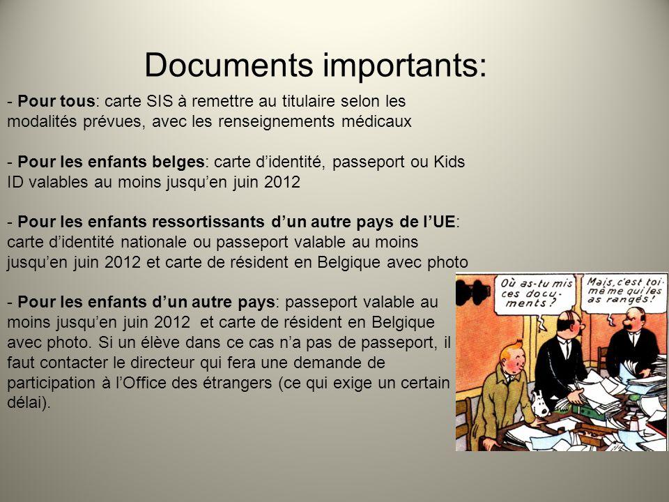 Documents importants: - Pour tous: carte SIS à remettre au titulaire selon les modalités prévues, avec les renseignements médicaux - Pour les enfants