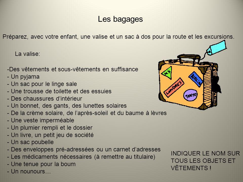 Les bagages Préparez, avec votre enfant, une valise et un sac à dos pour la route et les excursions. La valise: -Des vêtements et sous-vêtements en su