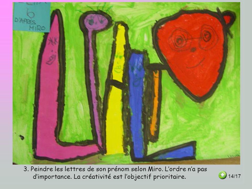 3. Peindre les lettres de son prénom selon Miro. Lordre na pas dimportance. La créativité est lobjectif prioritaire. 14/17