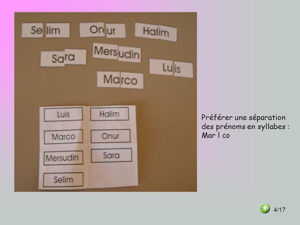 Préférer une séparation des prénoms en syllabes : Mar l co 4/17