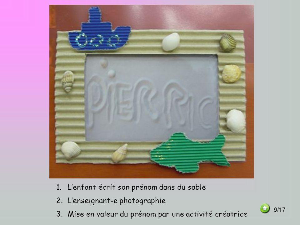 1.Lenfant écrit son prénom dans du sable 2.Lenseignant-e photographie 3.Mise en valeur du prénom par une activité créatrice 9/17