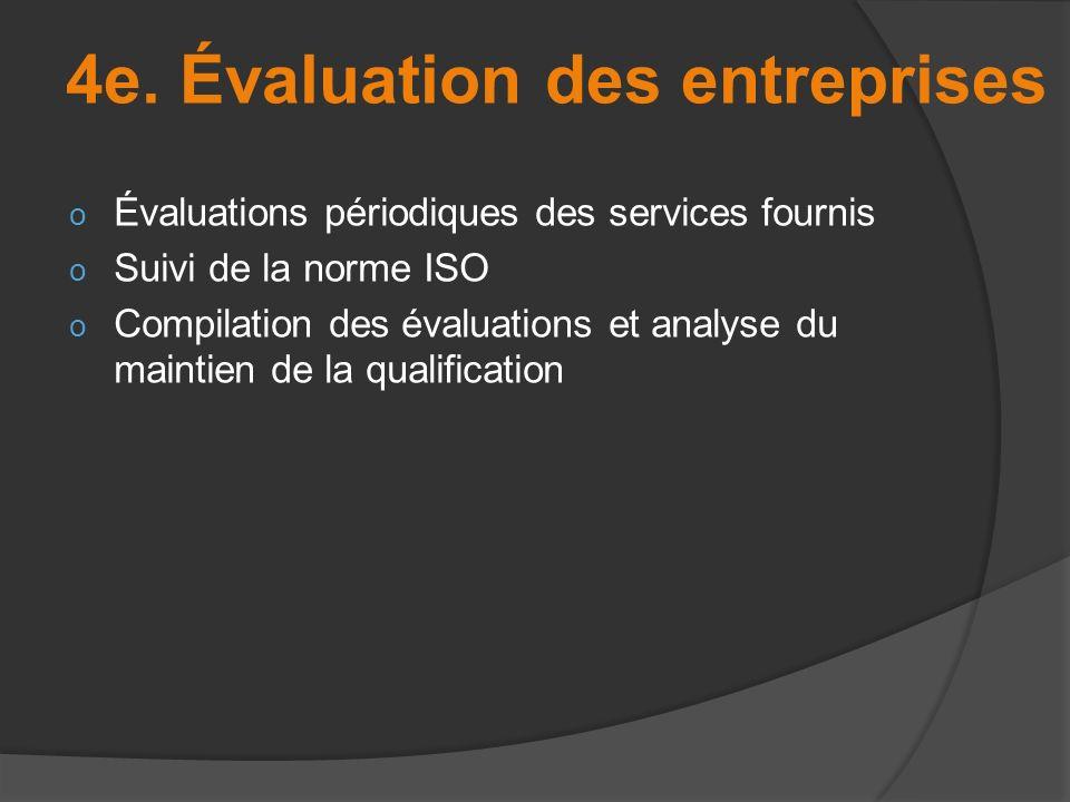 o Évaluations périodiques des services fournis o Suivi de la norme ISO o Compilation des évaluations et analyse du maintien de la qualification 4e. Év