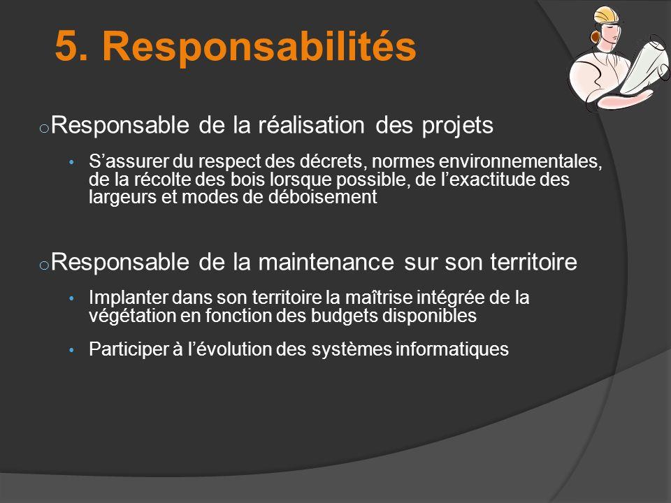 5. Responsabilités o Responsable de la réalisation des projets Sassurer du respect des décrets, normes environnementales, de la récolte des bois lorsq