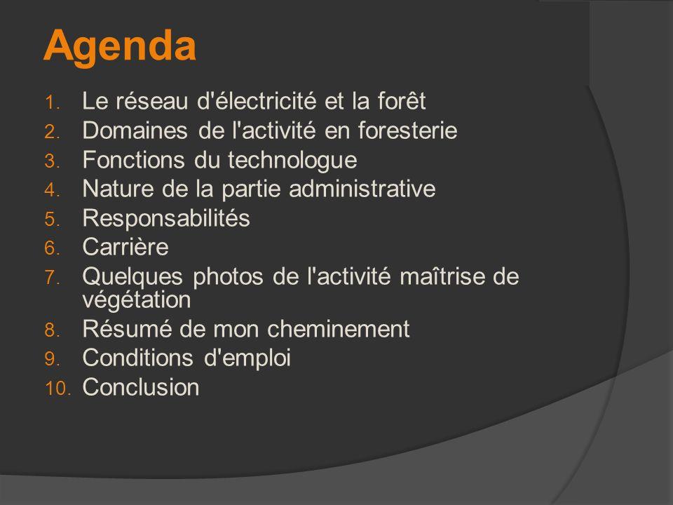 Agenda 1. Le réseau d'électricité et la forêt 2. Domaines de l'activité en foresterie 3. Fonctions du technologue 4. Nature de la partie administrativ