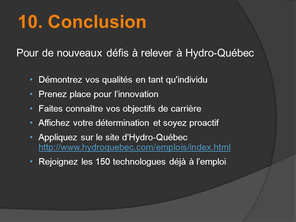 Pour de nouveaux défis à relever à Hydro-Québec Démontrez vos qualités en tant qu'individu Prenez place pour linnovation Faites connaître vos objectif
