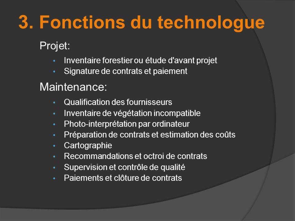 Projet: Inventaire forestier ou étude d'avant projet Signature de contrats et paiement Maintenance: Qualification des fournisseurs Inventaire de végét
