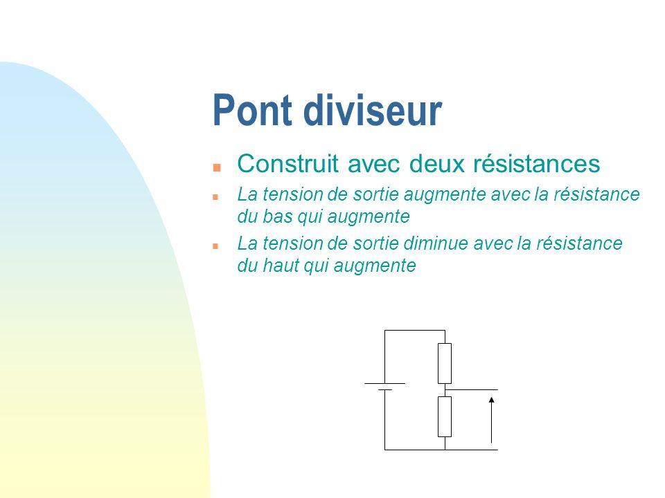 Pont diviseur n Construit avec deux résistances n La tension de sortie augmente avec la résistance du bas qui augmente n La tension de sortie diminue avec la résistance du haut qui augmente