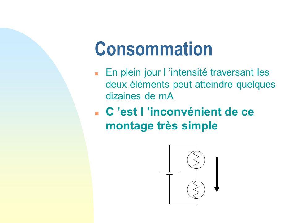 Consommation n En plein jour l intensité traversant les deux éléments peut atteindre quelques dizaines de mA n C est l inconvénient de ce montage très simple
