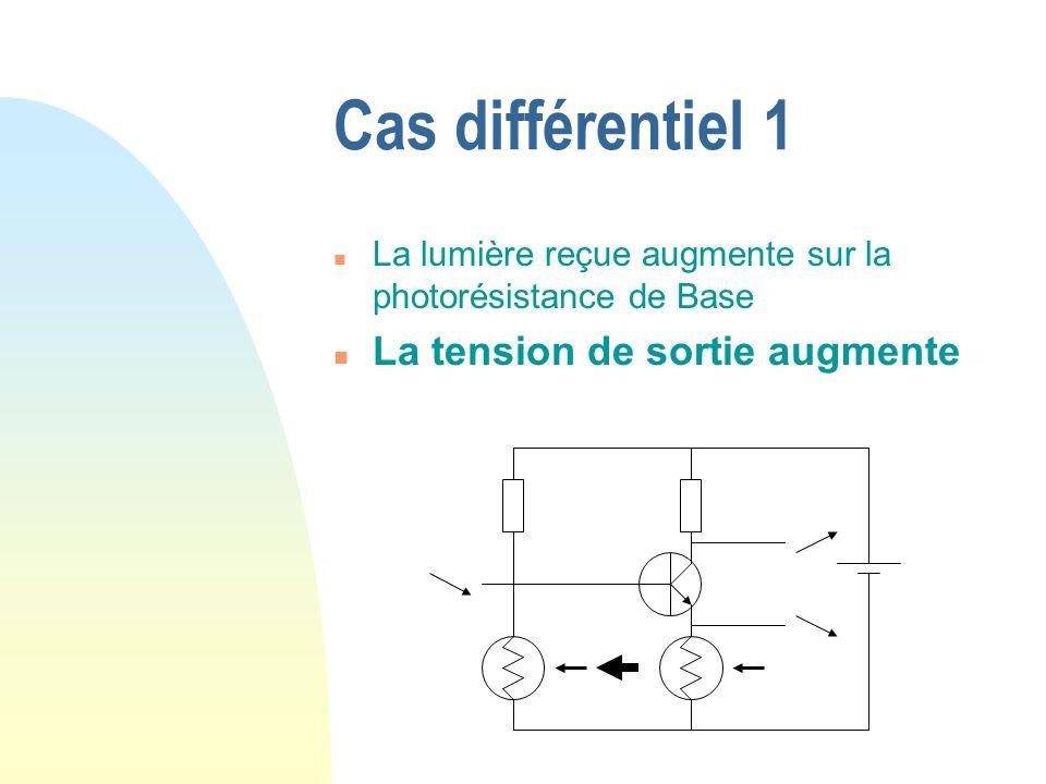 Cas différentiel 1 n La lumière reçue augmente sur la photorésistance de Base n La tension de sortie augmente
